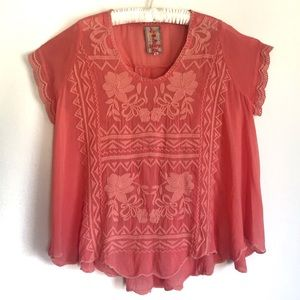 Johnny Was Coral Pink Embroidered Blouse Top Med